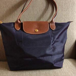 Longchamp navy blue medium long strap tote